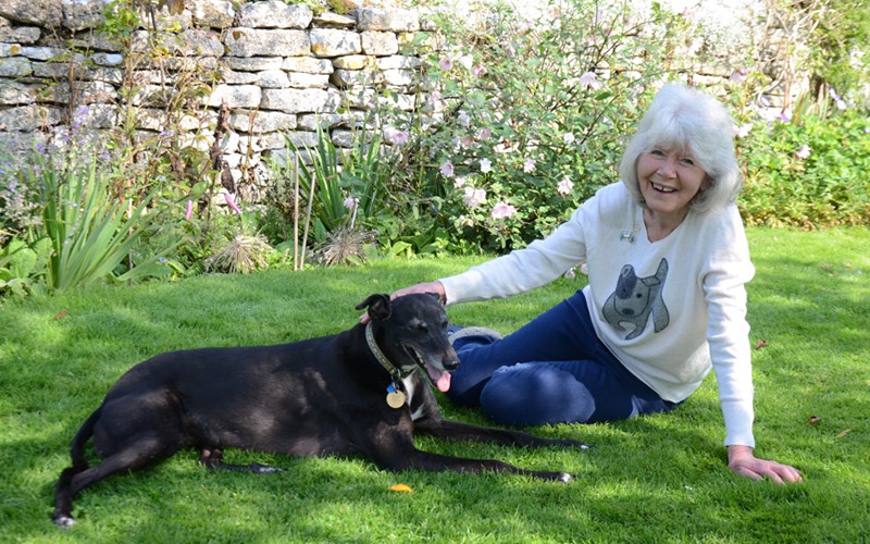 Jilly Cooper with a dog
