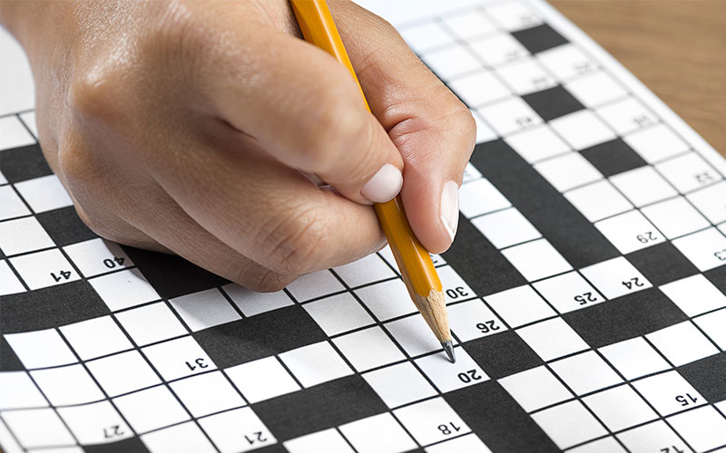 A person doing a crossword puzzle