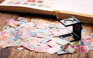 An array of stamps on a table