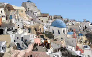 A photgraph of Santorini edited to look like an abstract painting