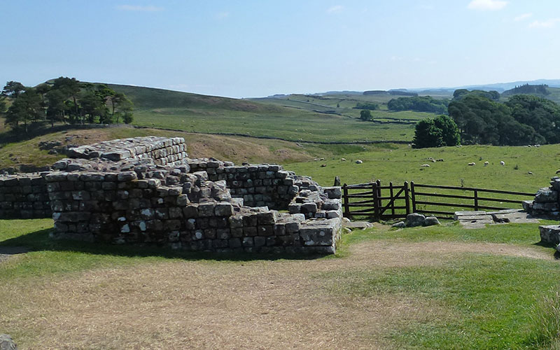 A rural landscape featuring Hadrian's Wall